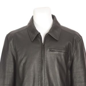 Wilsons Leather Black Heavy Leather Jacket Coat